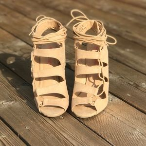 Just Fab Tan Lace Up